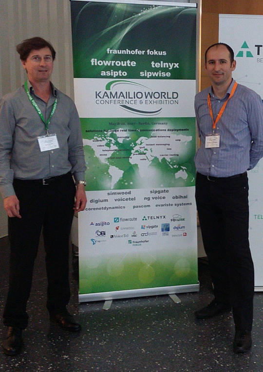 Daniel Pocock and Daniel-Constantin Mierla at Kamailio World, Berlin, 2017