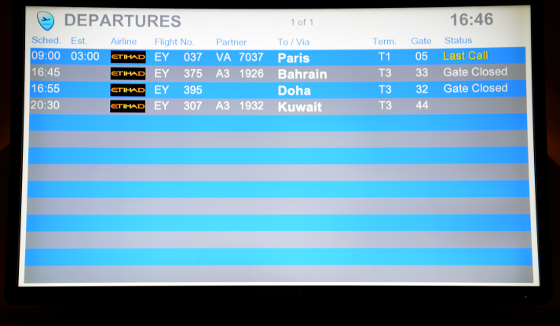 departure board, 18 hour delay for Paris