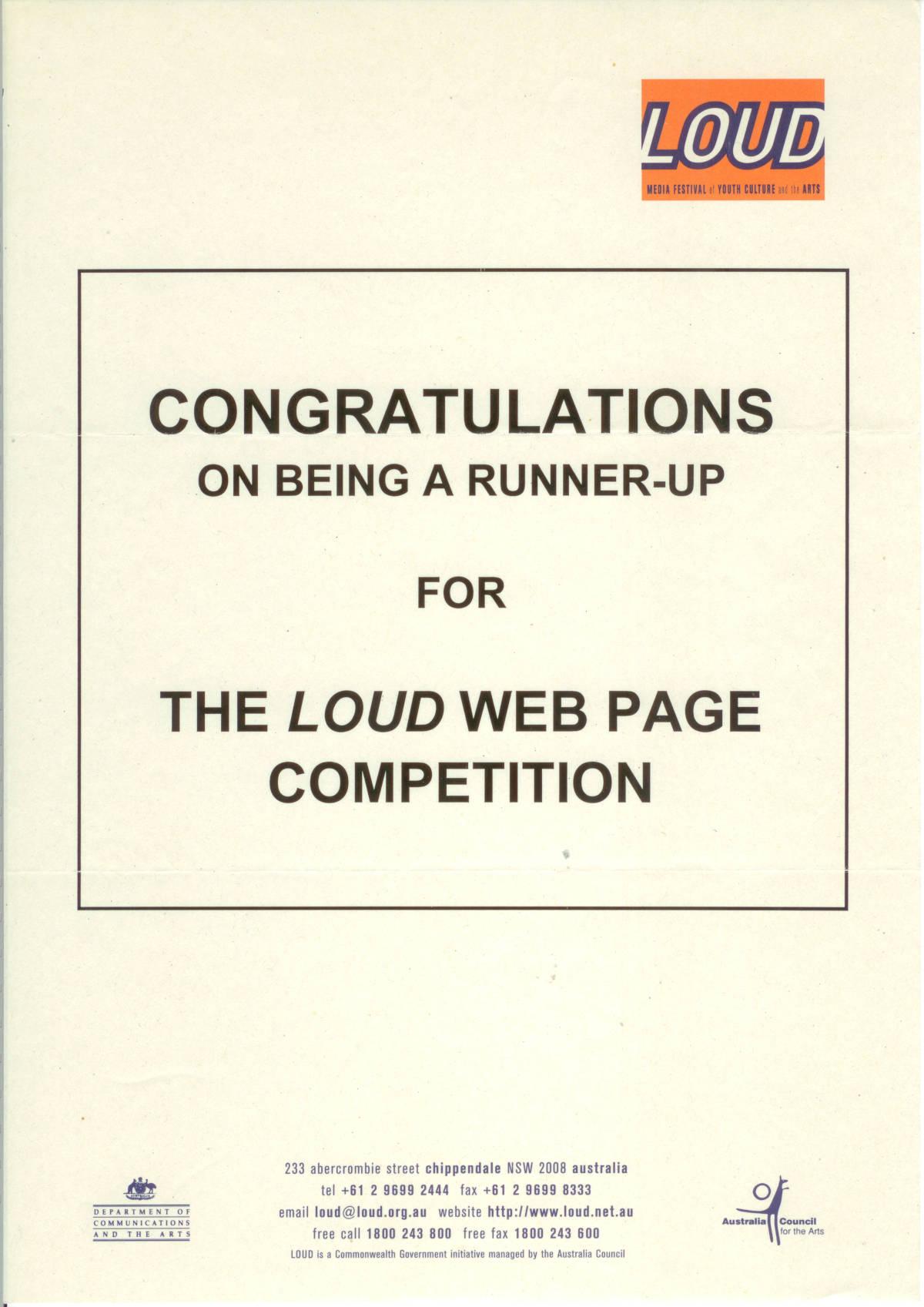 Daniel Pocock, Loud Award runner up, 1997